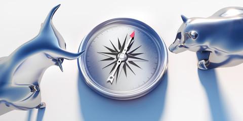 Silberner Bulle und Bär mit Kompass - Closeup