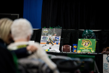 Humboldt Broncos memorabilia are seen on display at a memorial celebration for Evan Thomas, one of the players killed in the bus crash carrying the Humboldt Broncos Junior A hockey team