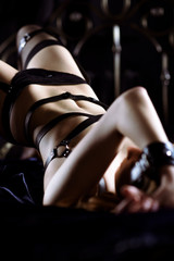 Beautiful sexy lady in bdsm outfit