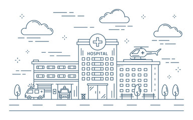 Line hospital building.