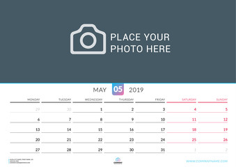 Wall calendar for May 2019. Vector design print template with place for photo. Week starts on Monday. Landscape orientation