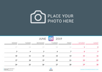 Wall calendar for June 2019. Vector design print template with place for photo. Week starts on Monday. Landscape orientation