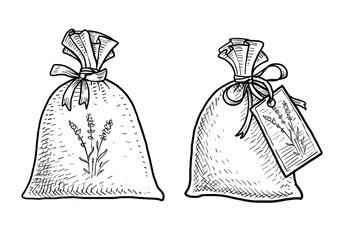 Lavender potpurri bag illustration, drawing, engraving, ink, line art, vector