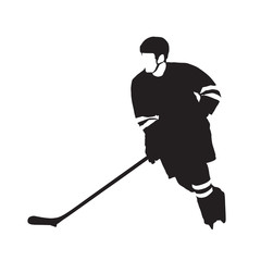 Ice hockey player, abstract vector silhouette