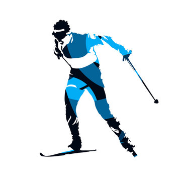 Cross country skier, abstract blue isolated vector silhouette
