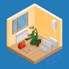 Isometric interior repairs concept. Heating service.