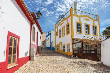 Old traditional streets of the village Alvor, Portimao