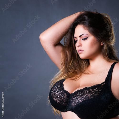 0ea92179946 Plus size sexy model in black bra