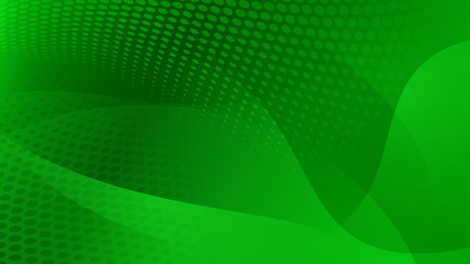 Abstract background of curved lines, curves and halftone dots in green colors Wall mural