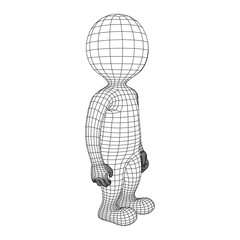 Wireframe low poly mesh human cartoon body in virtual reality. Medical blueprint scanned 3D model. Polygonal technology design.