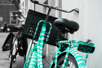Green Blue Turqoise White Striped Painted Bike Bycicle Black And Grey White Background