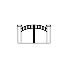 iron gates icon. Element of door, window and gate for mobile concept and web apps. Thin line icon for website design and development, app development. Premium icon