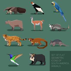 Set of flat geometric south America animals