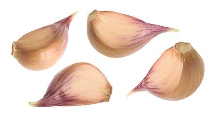 Garlic cloves isolated on white background. set