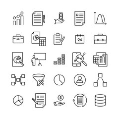 Set of premium freelance icons in line style.