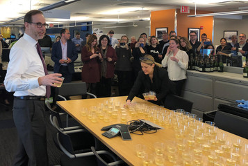 Reuters' President and Editor-in-Chief Stephen Adler speaks to newsroom staff after the global news agency won two Pulitzer prizes