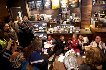 Interfaith clergy leaders stage a sit-in at the Center City Starbucks, where two black men were arrested, in Philadelphia
