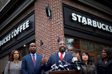 Philadelphia Councilman Kenyatta Johnson addresses the media along with colleagues, outside the Center City Starbucks, where two black men were arrested, in Philadelphia, Pennsylvania