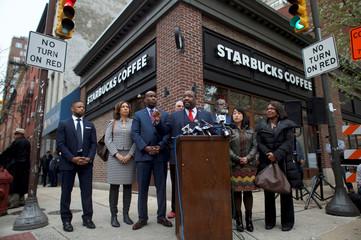 Philadelphia Councilman Kenyatta Johnson addresses the media along with colleagues, outside the Center City Starbucks, where two black men were arrested, in Philadelphia