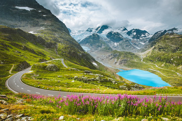 Fototapete - Alpine mountain scenery with country road in summer