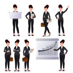 Business woman in suit set. Emotions. Poses.