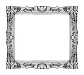 Antique silver gray  frame isolated on white background, clipping path