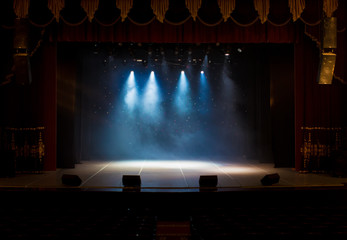 scene, stage light with colored spotlights and smoke - fototapety na wymiar