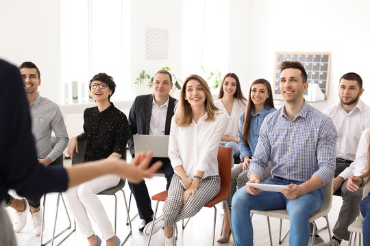 Young people having business training in office