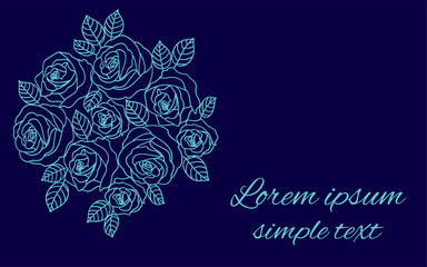 Floral vector design with pale blue roses wreath on navy blue