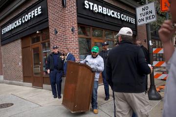 A lectern is set up before Philadelphia Councilmen addressed the media, outside the Center City Starbucks