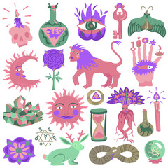 Colorful Tattoo Design Set