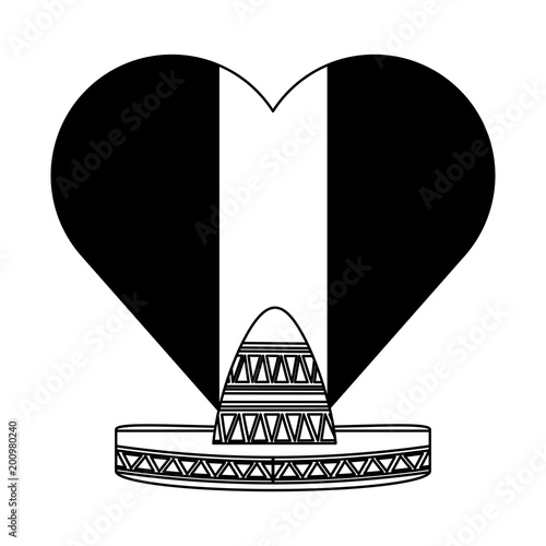 Mexico Flag In Heart Shape And Mexican Hat Icon Over White