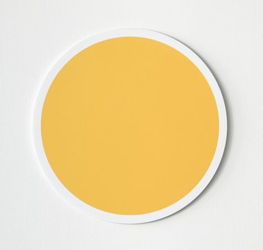 Yellow circle button icon isolated