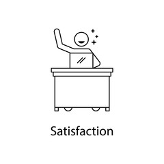 worker satisfaction icon. Element people at the workplace for mobile concept and web apps. Thin line icon for website design and development; app development. Premium icon
