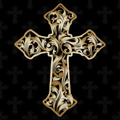 Ornamental cross.  Gold vector cross with decorative antique vintage 3d leaves and medieval baroque ornaments. Ornate gold cross on the black background.