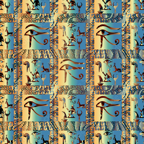 Egyptian Hieroglyphs Vector Seamless Pattern African Ethnic Check Background Tribal Papyrus Wallpaper Illustration With