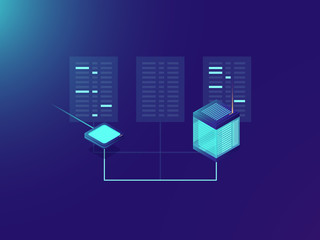 File transfer process, processing big data, server room, data center, cloud storage concept, internet conection, network topology neon isometric gradient