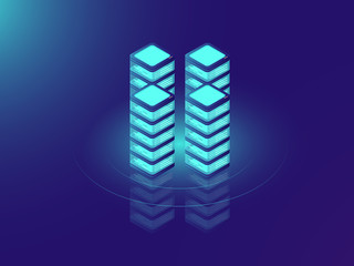 Server room rack, database and datacenter concept icons, IT isometric vector illustration on neon dar background