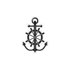 anchor with steering wheel icon. Element of ship illustration. Premium quality graphic design icon. Signs and symbols collection icon for websites, web design, mobile app
