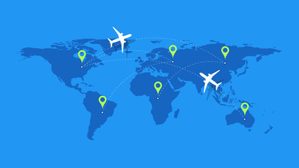 Infographic Vector Illustration With Planes, Dotted Direction Paths And Map Pointers Over Worldmap. Template For Plane Tracking Design