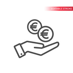 Outline flat icon of  euro coins falling in hand. Hand and coins dropping web pictograph. Euro coin and a palm.