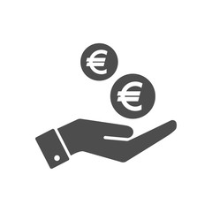 Hand and euro cents coins dropping flat icon. Euro coin and palm pictograph icon symbol.