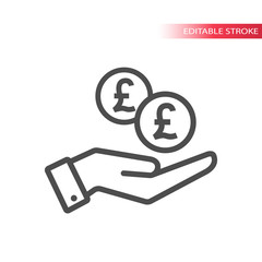 Outline flat icon of pound coins falling in hand. Hand and coins dropping web pictograph. Pounds coin and a palm.