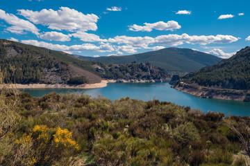 Scenic landscape of Lake camporredondo in Palencia, Castilla y León, Spain.