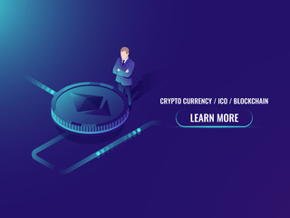 Isometric cryptocurrency mining and buying concept, investment in crypto currency, business man stay by ethereum coin vector illustration