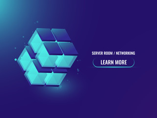 Isometric Cryptocurrency and Blockchain concept technology abstract banner, 3d cube, data block chain, high technologies concept, shining cube vector illustration