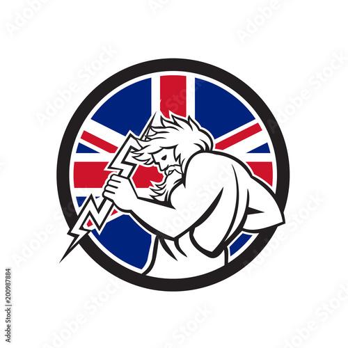 Zeus With Thunderbolt Union Jack Flag Icon\