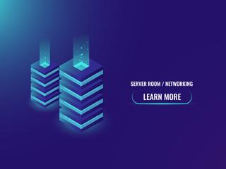 Server room and database isometric concept, cloud storage, server room, website hosting, digital technology, futuristic energy station