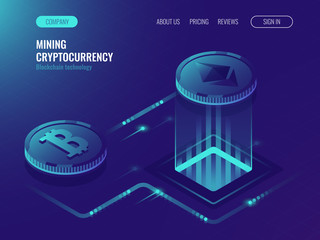 Mining bitcoin and ethereum crypto currency, mining server farm room, video card, data processing ultraviolet isometric vector illustration
