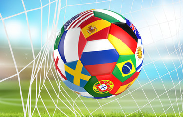 flags soccer ball in soccer net. socer goal 3d rendering